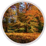 Resting Place In An Autumn Park Round Beach Towel