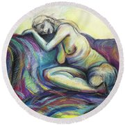 Round Beach Towel featuring the drawing Resting Place  by Kerryn Madsen-Pietsch