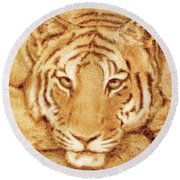 Resting Tiger Round Beach Towel by Dale Loos Jr