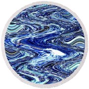 Round Beach Towel featuring the photograph Restless Waves by Kellice Swaggerty