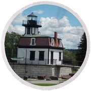 Restored Lighthouse Round Beach Towel
