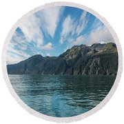 Round Beach Towel featuring the photograph Resurrection Bay, Kenai Fjords National Park In Alaska by Brenda Jacobs