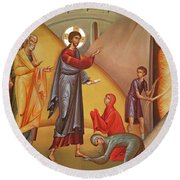 Round Beach Towel featuring the painting Resurrection Of Lazarus by Munir Alawi