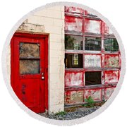 Round Beach Towel featuring the photograph Retired Garage by Christopher Holmes