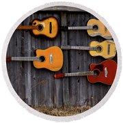 Retired Guitars  Round Beach Towel