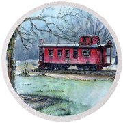 Retired Red Caboose Round Beach Towel