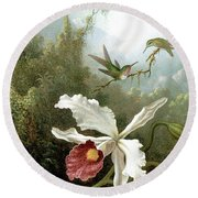 Retouched Masters - Orchid And Hummingbirds In Tropical Forest Round Beach Towel