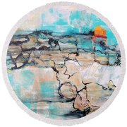 Round Beach Towel featuring the painting Retreat by Mary Schiros
