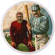 Retro Baseball Game Ad 1885 B Round Beach Towel
