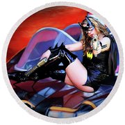 Retro Bat Woman On Car Round Beach Towel