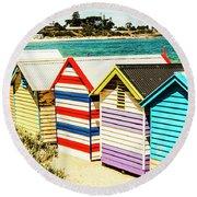 Retro Beach Boxes Round Beach Towel