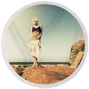 Retro Beach Fashions Round Beach Towel