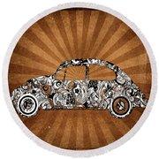 Retro Beetle Car Round Beach Towel