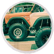 Retro Bronco Heaven Round Beach Towel