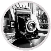 Retro Camera Round Beach Towel
