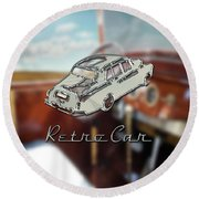 Retro Car Round Beach Towel by La Reve Design