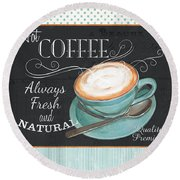 Retro Coffee 1 Round Beach Towel