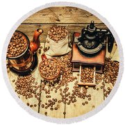 Retro Coffee Bean Mill Round Beach Towel by Jorgo Photography - Wall Art Gallery