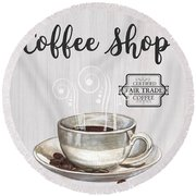 Round Beach Towel featuring the painting Retro Coffee Shop 1 by Debbie DeWitt