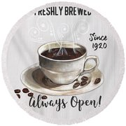 Round Beach Towel featuring the painting Retro Coffee Shop 2 by Debbie DeWitt
