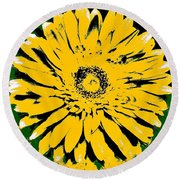 Retro Daisy Round Beach Towel by Marsha Heiken