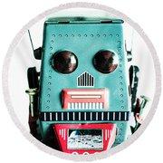 Retro Eighties Blue Robot Round Beach Towel