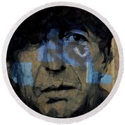 Round Beach Towel featuring the painting Retro- Famous Blue Raincoat  by Paul Lovering