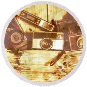 Retro Film Cameras Round Beach Towel