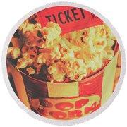 Retro Film Stub And Movie Popcorn Round Beach Towel