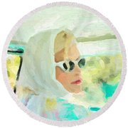 Round Beach Towel featuring the digital art Retro Girl - Road Trip No.1 by Serge Averbukh