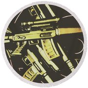 Retro Guns And Targets Round Beach Towel