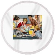 Round Beach Towel featuring the digital art Retro Home by Reinvintaged
