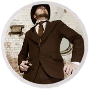 Round Beach Towel featuring the photograph Retro Nobel Man by Jorgo Photography - Wall Art Gallery