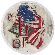 Round Beach Towel featuring the digital art Retro Patriotic-a by Jean Plout
