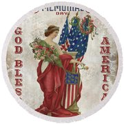 Round Beach Towel featuring the digital art Retro Patriotic-b by Jean Plout