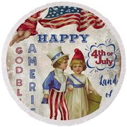 Round Beach Towel featuring the digital art Retro Patriotic-c by Jean Plout