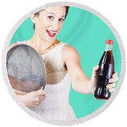 Retro Pin-up Girl Giving Bottle Of Soft Drink Round Beach Towel