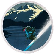 Retro Revelstoke Ski Poster Round Beach Towel by Sassan Filsoof