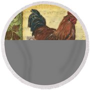 Retro Rooster 2 Round Beach Towel