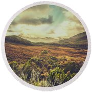 Retro Scenic Wilderness Round Beach Towel