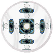 Round Beach Towel featuring the digital art Retro Shapes 2 by Fran Riley