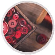 Retro Styled Red Buttons And Thread Round Beach Towel