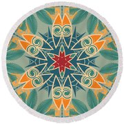 Round Beach Towel featuring the photograph Retro Surfboard Woodcut by Mary Machare