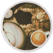 Retro Tea Background Round Beach Towel