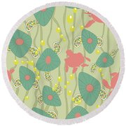 Retro Turtles Round Beach Towel