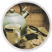 Retro Vintage Toned Tea Still Life In Crate Round Beach Towel