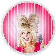 Retro Woman With Hairstyle Love. Heart Shape Hair Round Beach Towel