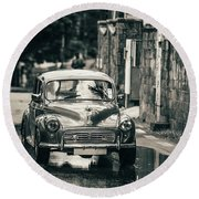 Retromobile. Morris Minor. Vintage Monochrome Round Beach Towel by Jenny Rainbow