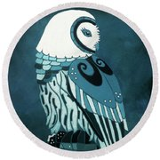 Retrospect In The Moonlight Owl Round Beach Towel