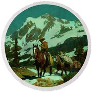 Round Beach Towel featuring the painting Return From The Hunt by Frank Tenney Johnson